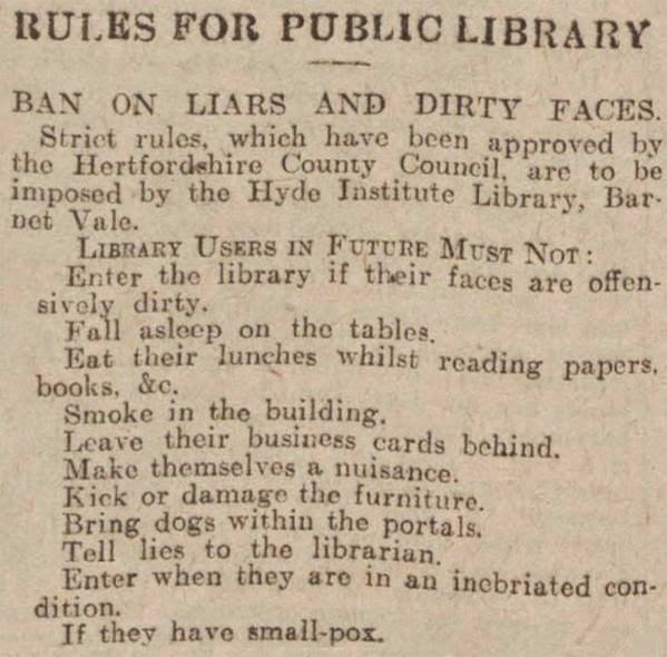 Library rules from 1930