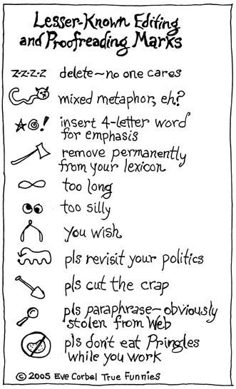 Lesser known proofreading marks